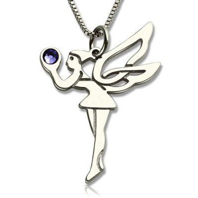 Personalised Fairy Birthstone Necklace for Girls Sterling Silver  - All Birthstone™