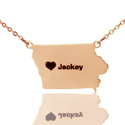 Iowa State USA Map Necklace With Heart  Name Rose Gold - All Birthstone™