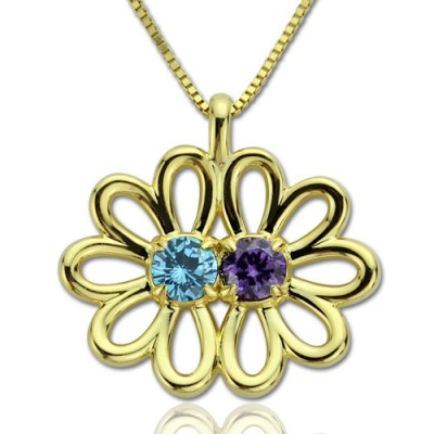 Personalised Double Flower Pendant with Birthstone 18ct Gold Plated Silver  - All Birthstone™