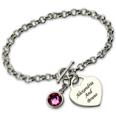 Personalised Charm Bracelet with Birthstone  Name Sterling Silver  - All Birthstone™
