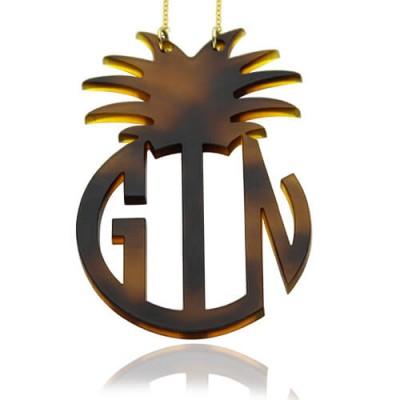 Personalised Acrylic Block Monogram Pineapple Necklace - All Birthstone™