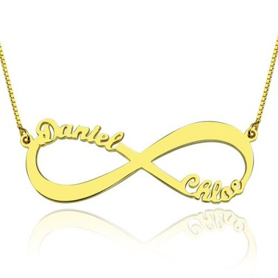 18ct Gold Plated Infinity Necklace Double Name - All Birthstone™