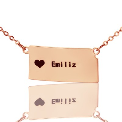 Custom Kansas State Shaped Necklaces With Heart  Name Rose Gold - All Birthstone™