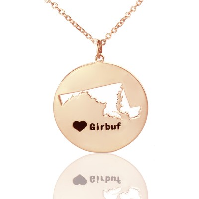 Custom Maryland Disc State Necklaces With Heart  Name Rose Gold - All Birthstone™