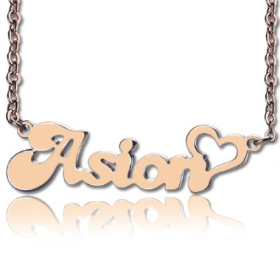 Personalised BANANA Font Heart Shape Name Necklace 18ct Rose Gold Plated - All Birthstone™