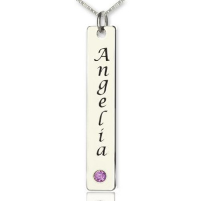 Vertical Bar Necklace Name Tag Silver - All Birthstone™