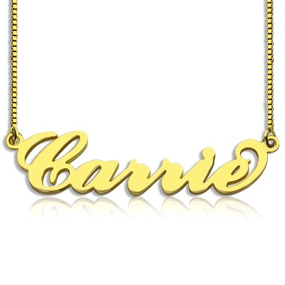 Gold Plated Sex and The City Carrie Name Necklace Box Chain - All Birthstone™