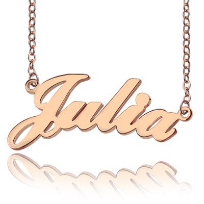 Solid Rose Gold Plated Julia Style Name Necklace - All Birthstone™
