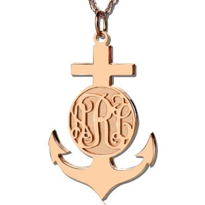 Rose Gold Anchor Cross Monogram Initial Pendant - All Birthstone™