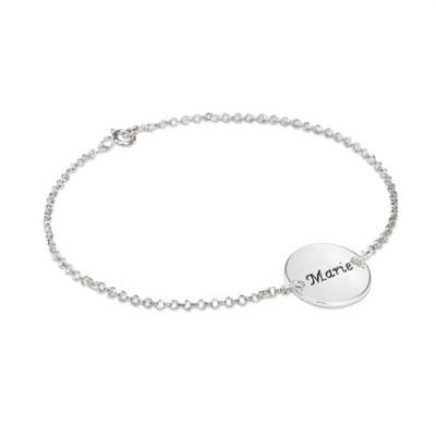 Engraved Disc Bracelet/Anklet In Sterling Silver - All Birthstone™