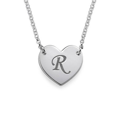 Heart Necklace with Initial Print Font - All Birthstone™