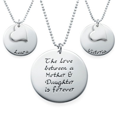 Mother Daughter Gift - Set of Three Engraved Necklaces - All Birthstone™