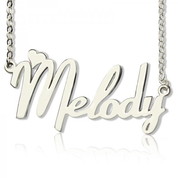 a787e1d1e2eb1 Personalised 18ct White Gold Plated Fiolex Girls Fonts Heart Name Necklace  - All Birthstone™
