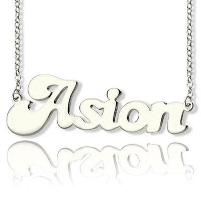 Personalised 18ct Solid White Gold BANANA Font Style Name Necklace - All Birthstone™