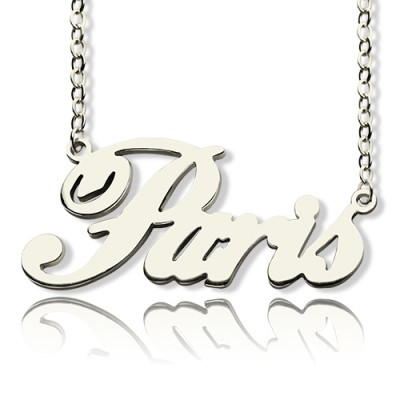 """Custom Name Necklace Sterling Silver """"Paris"""" - All Birthstone™"""