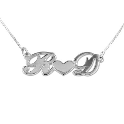 Personalised Silver Couples Heart Necklace - All Birthstone™