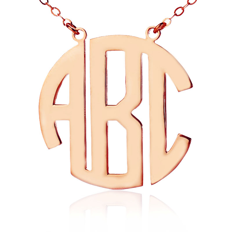 7f6588f80 Solid Rose Gold Initial Block Monogram Pendant Necklace - All Birthstone™
