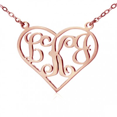 18ct Rose Gold Plated Initial Monogram Personalised Heart Necklace - All Birthstone™