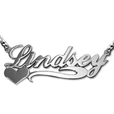 Double Thickness Side Heart Silver Name Necklace - All Birthstone™