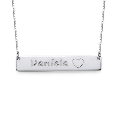 Silver Bar Necklace with Icons - All Birthstone™