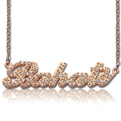 Rose Gold Plated Full Birthstone Carrie Name Necklace  - All Birthstone™