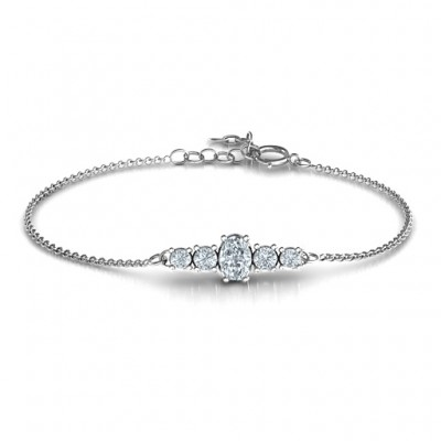 Oval Centre with 4 Side Round Stones Bracelet  - All Birthstone™