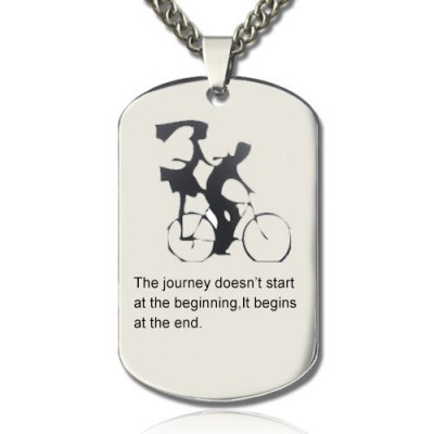 Couple Bicycle Dog Tag Name Necklace - All Birthstone™